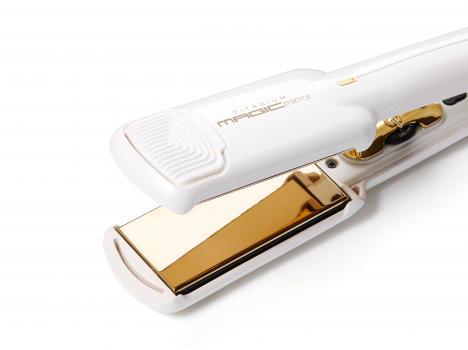 CREATE Titanium Magic Mirror (white / gold) - Extra Smooth Wide Plate 230c Hair Straightener/Styler