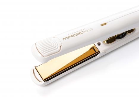 CREATE Titanium Magic Mirror (white / gold) - Extra Smooth Medium Plate 230c Hair Styling Iron